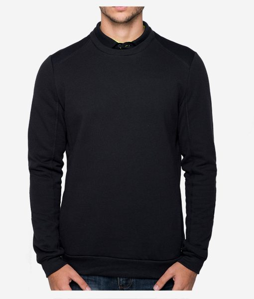 casual-cycling-black-round-collar-sweatshirt-front