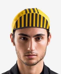 casual-cycling-yellow-black-stripes-cap-model-front