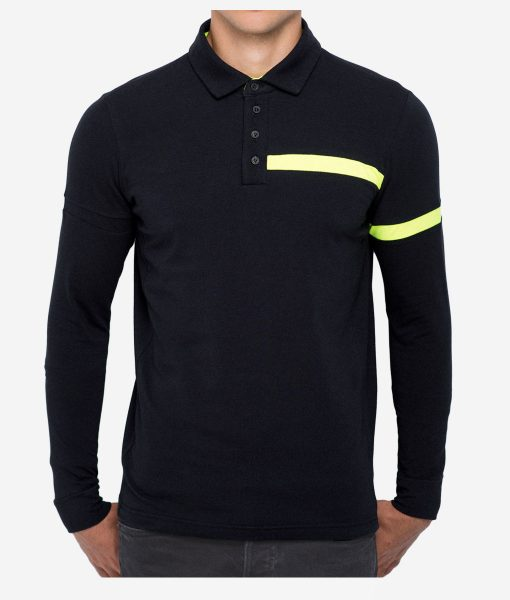casual-cycling-clothing-polo-button-black-fluor-front