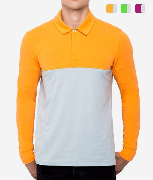 casual-cycling-polo-zip-orange-front
