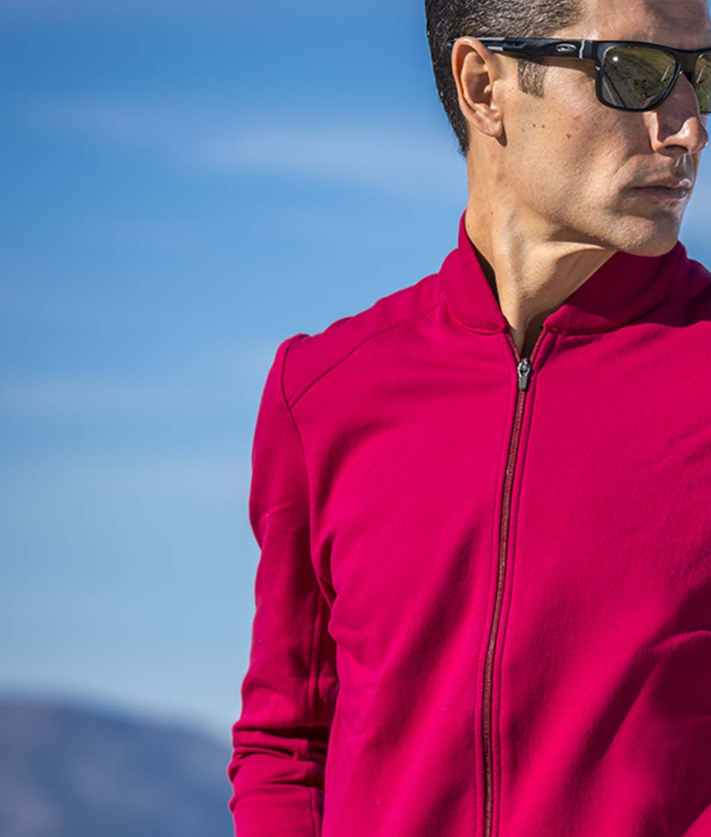 Casual-cycling-classic-maroon-cardigan-outside-front