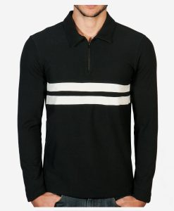 casual-cycling-clothing-polo-zip-black-fromt