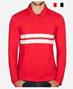 casual-cycling-clothing-polo-zip-red-front